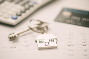 Credit cards, key ring. Concept mortgage